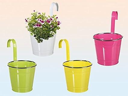 Blumentopf Pflanzentopf Metall Farbig Zum Hangen Fur Balkon Gelander Zaun O 16 Cm 4 Stuck Amazon De Garten
