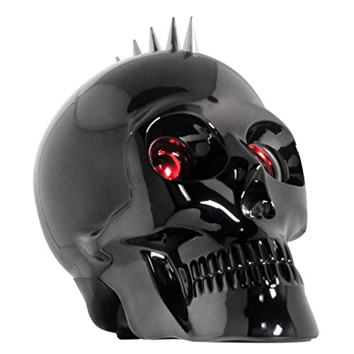 Metallic Wireless Bluetooth Skull Speaker Party Speaker with Lights Laptop Computer Speaker LED Light Show Dancing Speaker (Chrome Black)