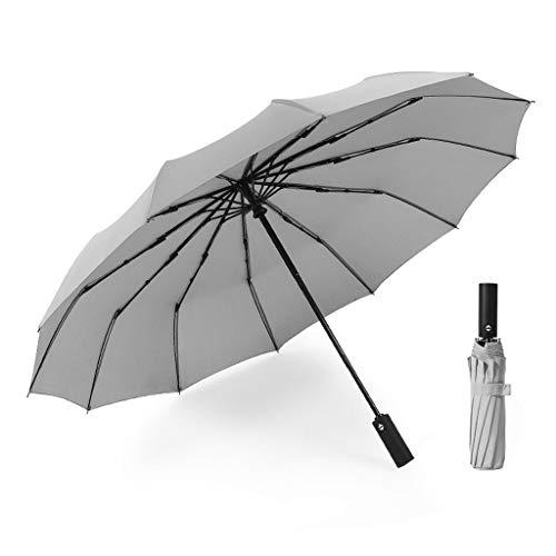 - LLF Golf Umbrella,12 Ribs Foldable Compact Travel Umbrella Windproof & UV Resistant for Man Women Outdoor (Color : Gray, Size : 33cm)