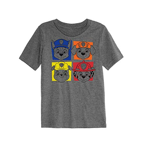 Jumping Beans Toddler Boys 2T-5T Paw Patrol Chase, Marshall, Rocky & Rubble Graphic Tee 5T Charcoal Snow