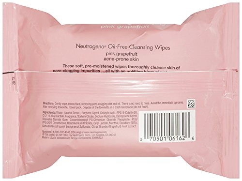 Neutrogena Cleansing Wipes, Pink Grapefruit, 25 Count (Pack Of 6)