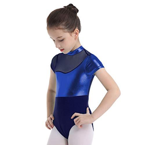 Metallic Camisole Leotard - inlzdz Kids Girls Cap Sleeve Gymnastic Leotard Shiny Metallic High Turtleneck Ballet Dance Camisole Outfits Blue 6
