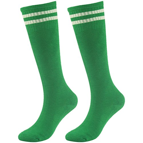Soccer Socks Boys Socks Fasoar Over Knee Striped Half Cushion Athletic Socks 2 Pairs Green]()
