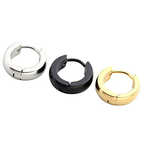 ess Steel 9mm Simple Dome Hoop Earring Men Women Gold Silver Black Piercing Small Huggie (Dome Silver Earrings)