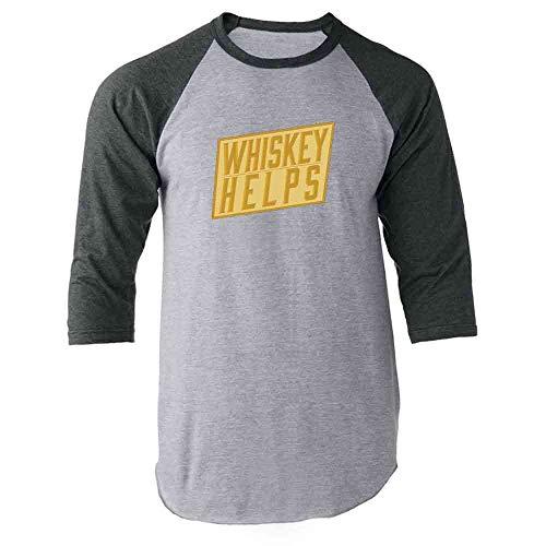 Pop Threads Whiskey Helps Gray L Raglan Baseball Tee Shirt (Single Malt Cask)