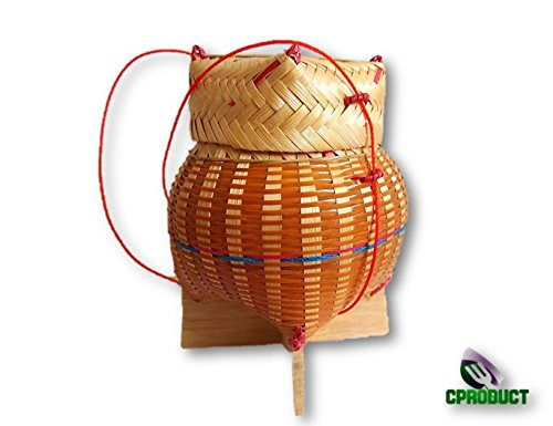 CProduct Classic Laos Thai Sticky Rice Serving Basket, Asian Steamer Food Container Bamboo Handwoven 4.5-Inch