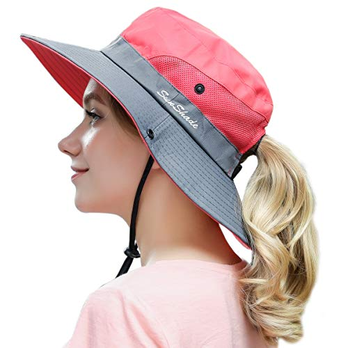 Women Outdoor Sun Hat UV Protection Wide Brim Mesh Foldable Safari Beach Fishing Bucket Cap Watermelon Red