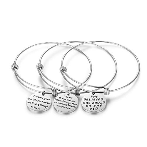 AISHOW 3PCS Stainless Steel Inspirational Charm Bracelets Jewelry Set Engraved Message Motivational Expendable Bangles for Women Girls ()