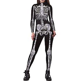 Fixmatti Women Skeleton Halloween Cosplay Skeleton Adult Jumpsuits Onesie S Black And White