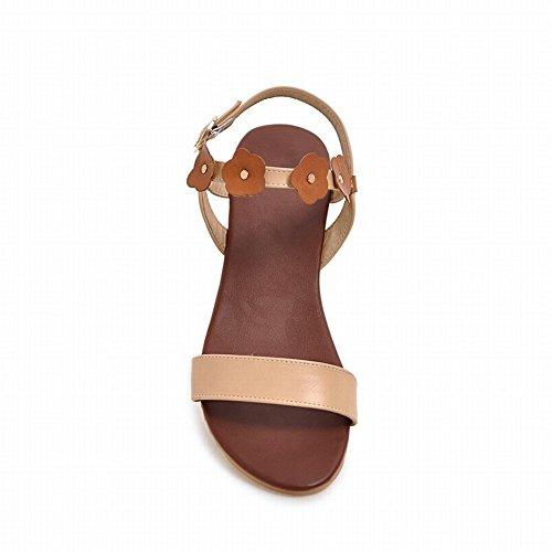 Sandalias De Cuña De Tacón Medio Con Cordones Y Hebilla De Punta Abierta Para Mujer De Comfort Comfort Gold