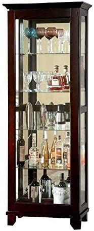 HOMES Inside Out Curio Alecie Cabinet with Built In Light, Dark Walnut