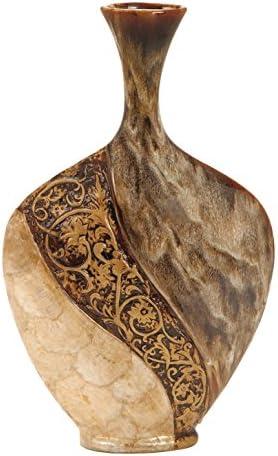 Deco 79 64736 Ceramic Capiz Shell Vase, 18 x 11