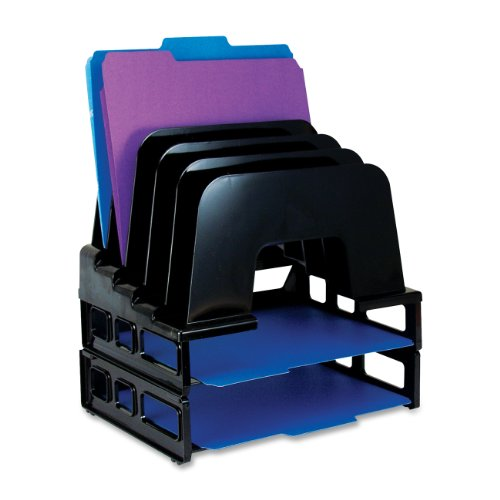 Officemate Incline Sorter, 2 Trays, 5-Compartments, Plastic, 9.12w x 13.5d x 14h, Black (22112) Plastic Incline Sorter