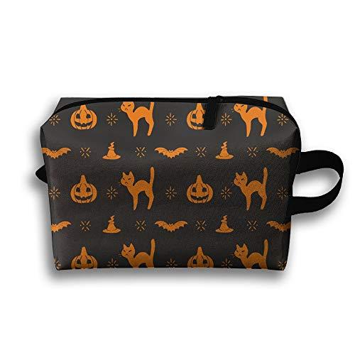 Travel Cosmetic Bag Portable Handbag Halloween Pumpkin Wallpaper Toiletry Pouch Small Makeup Bags Case Organizer -