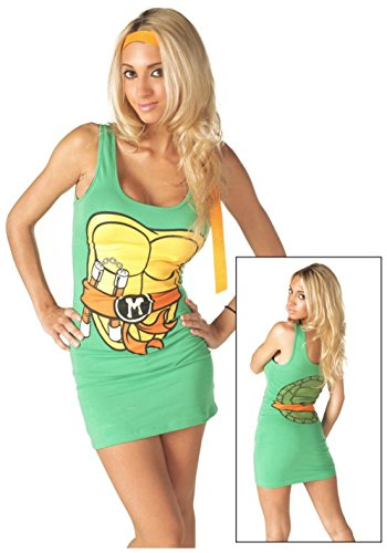[Michelangelo Teenage Mutant Ninja Turtles Womens Tank Dress Costume-Womens Medium] (Ninja Turtle Female Costumes)