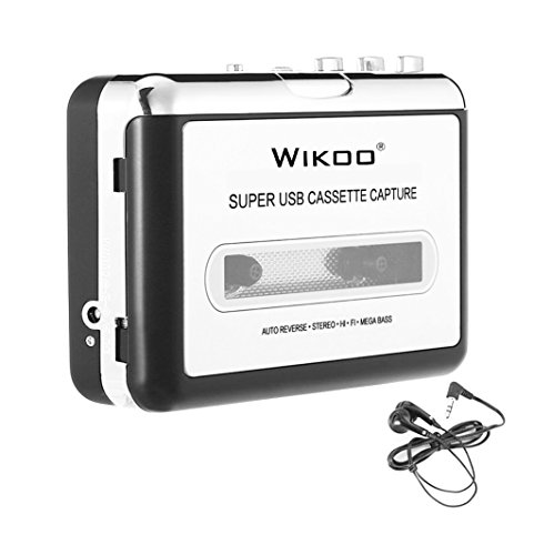 Cassette to MP3 Converter, Wikoo USB Cassette Converter Cassette Player with Earphone, Portable Cassette Converter Convert Tapes to Digital Version