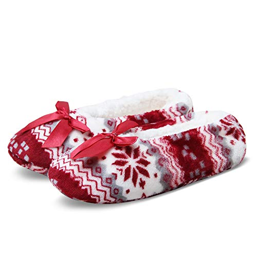 Women's Cozy Warm Lined Fuzzy Slipper Socks Indoor Booties with Non Slip Grippers (L/XL (9-11), Snowflake Red)