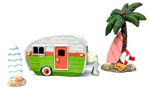 Fairy Garden Miniature Camper Trailer Beach Set with Palm Tree and Surf Board (Green) by Pabu Guli