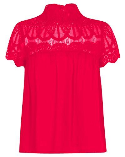 Camiseta de manga corta de encaje con diseño de flores, para mujer, tallas grandes Rosso