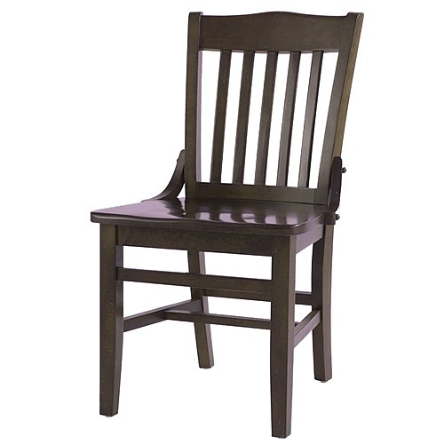 "Oak Street CW-554-WA School House Solid Wood Dining Chair with Black Wood Seat, 35.875"" Height x 16.25"" Width x 19.25"" Depth, Walnut"