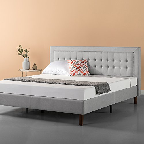 Zinus Upholstered Button Tufted Premium Platform Bed/Strong Wood Slat Support/Grey Sand, King (Traditional King Bed)