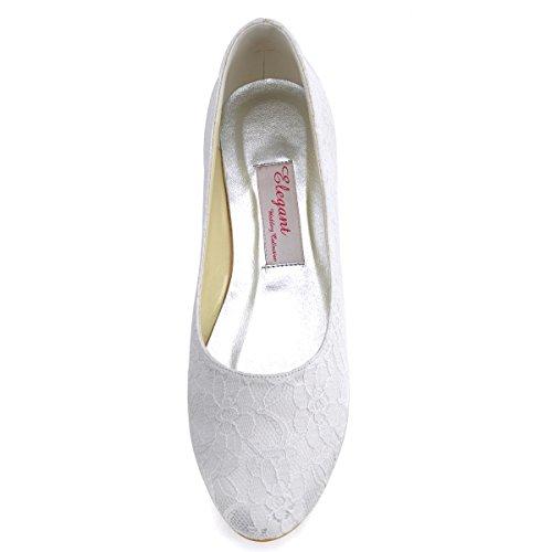Sposa Donna Chiusa Da Scarpe Pizzo Bianco Elegantpark Punta Ep11106 Partito Balletto q571azgwx