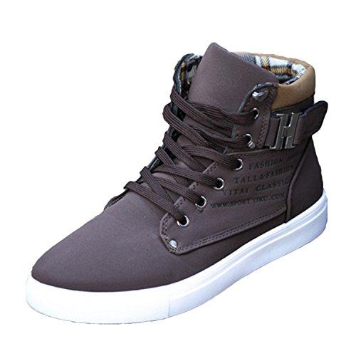 Oasap Herren High Top Schnürsenkel Schnalle Sneakers Deep Grey