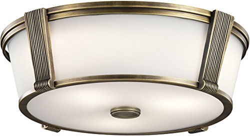 Kichler 43909NBR Grayson Flush Mount, 2 Light Incandescent 150 Total Watts, Natural Brass