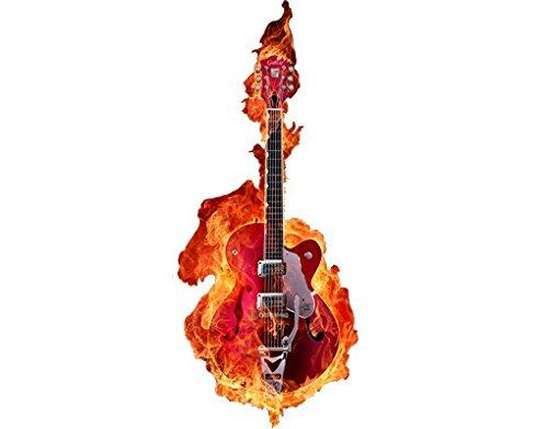Wandbild Aufkleber No. 205 Gitarre in Flammen, Wandtattoo, Wandaufkleber, Tattoos, Wand Aufkleber