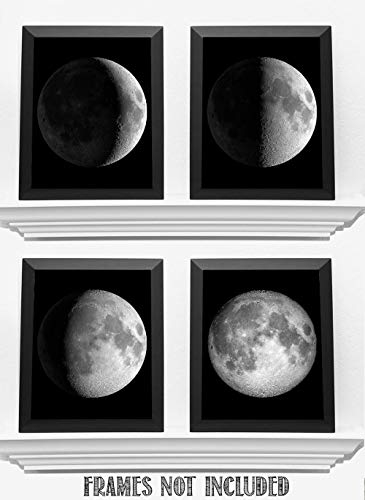 Moon Phases - Set of Four 8x10 Unframed Art Prints - Great Gift and Decor for Astronomers, Observatories and Home Under… 9