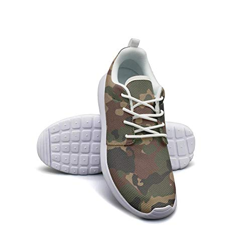 LOKIJM Camo Army Camouflage Woodland White Sneaker Shoes for Women Slip Comfortable and Lightweight Best Running Shoes ()