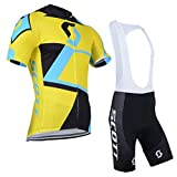 2014 Outdoor Sports Pro Team Men's Short Sleeve Scott Cycling Jersey and Bib Shorts Set-X-Large