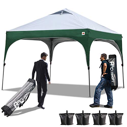 ABCCANOPY Pop up Canopy Beach Canopy 10'x10'Better Air Circulation Canopy with Wheeled Backpack Carry Bag+4 x Sandbags, 4 x Ropes&4 x Stakes(Grey with Green) (Wind Vent)