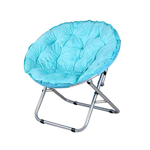 Chair Moon Stacking - CJC Reclining Deck Chaise Folding Round Sofa Moon Chair Steel PP Cotton Cover Non-Slip 8 Colors (Color : T4)