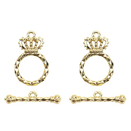 (Monrocco 5 Sets Gold Plated Crown Toggle Clasp Sets Bead Connectors Findings)