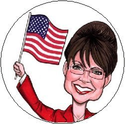 "Amazon.com: SARAH PALIN American Flag Cartoon Political Pinback Button 1.25"" Pin / Badge: Clothing"