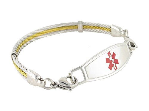 """N Style ID Golden Gate Cable PRE-ENGRAVED """"Diabetes"""" women's fashionable medical alert bracelet - Red 7.75 by N-Style ID"""