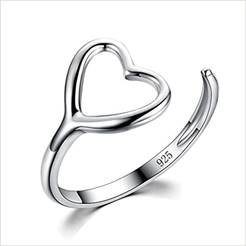 RongXing Jewelry Girls 925 Sterling Silver Heart Ring Wedding Engagement Rings Size 9