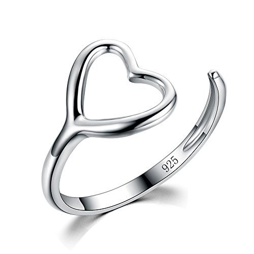 Price comparison product image 925 Sterling Silver Simple Love Ring Give Friends and Girl the Best Gift (Silver Size 7)