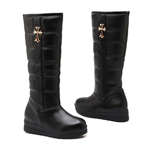 AllhqFashion Mujeres Sin cordones Mini Tacón Caña Alta Botas con Ornamento Metal Negro