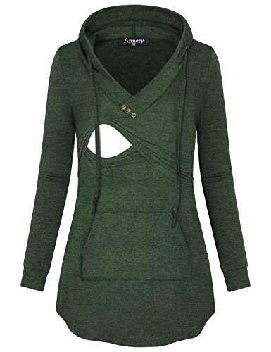 Annery Latched Mama, Ladies Loose Knitting Hoodie Maternity Nursing and Pumping Fall Sweater Breathable Soft Simple Style Tops with Kangaroo Pocket(Green,X-Large) by Annery