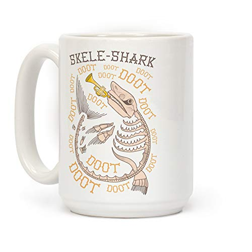 (LookHUMAN Skele-Shark White 15 Ounce Ceramic Coffee)
