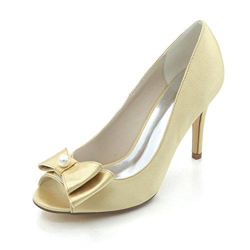 L@YC Zapatos De Boda Para Mujer Primavera OtoñO SatéN Y Noche Boda Rhinestone Pearl Glitters Yellow