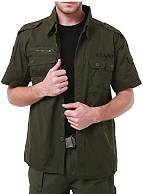 YIhujiuben Mens Casual Shirt Military Long Sleeve Button Down Dress Shirt