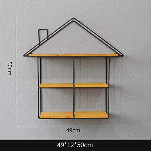 Flower Stand, Bedroom Living Room Creative Flower Pot Rack Wooden Wall Wrought Iron Shelf Punch Free Plant Stand (Color : C)