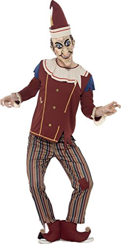 Smiffy's Men's Possessed Punch Costume, Top, pants, Hat, Boot Covers and Latex Mask, Cirque Sinister, Halloween, Size M, 45576
