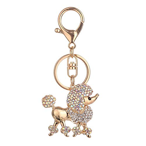 SODIAL New Mode Rhinestone Key Ring Chains Holder Bag Buckle Pendant for Car Keyrings Keychains Poodle Dog - Poodle Crystal