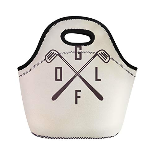 (Semtomn Lunch Tote Bag Vintage Emblems for Two Crossed Golf Clubs Ball Retro Reusable Neoprene Insulated Thermal Outdoor Picnic Lunchbox for Men Women)