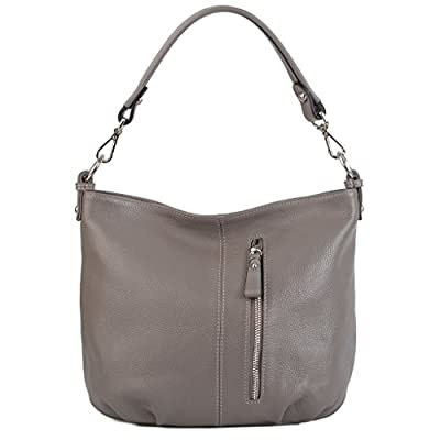 YALUXE Women's Front Pocket Soft Cowhide Leather Small Mini Purse Hobo Style Shoulder Bag