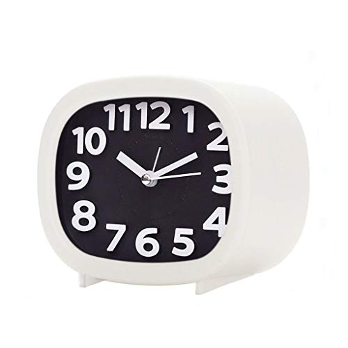 (Zdtxkj Silent Table Alarm Clock with Nightlight Lazy People Mute Clock Nightstand Bedside Alarm (Black and White))